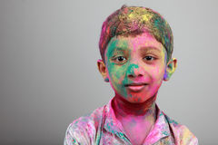 Portrait of boy playing Holi Royalty Free Stock Photo