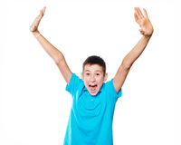 Portrait of a boy pointing finger showing emotions expressive on a white background with a blue shirt Stock Images
