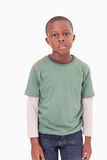 Portrait of boy posing. Against a white background stock images