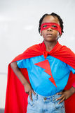 Portrait of boy pretending to be a superhero Stock Photo