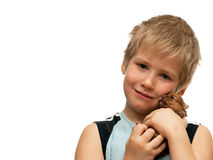 Portrait of a boy with a puppy Royalty Free Stock Image