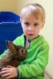 Portrait boy and rabbit Royalty Free Stock Image
