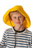 Portrait boy with rain hat Royalty Free Stock Images