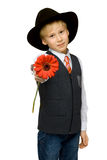 Portrait boy with red flower Stock Photography