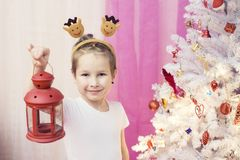 Portrait of a boy with a red lantern in the hands of a Christmas tree. Portrait of boy with a red lantern in the hands of a Christmas tree Stock Photos