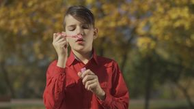 Portrait of the boy in red shirt blowing a soap bubble in the park. Child is playing outdoors. The autumn is outside stock footage