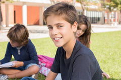 Portrait of a boy in school campus. Portrait of a little boy in school campus stock photography