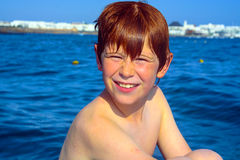 Portrait of a boy during seaside vacation holiday Royalty Free Stock Photo