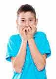 Portrait of a boy  showing emotions expressive Royalty Free Stock Photo