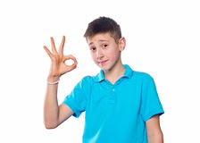 Portrait of a boy  showing emotions expressive Royalty Free Stock Photos