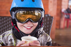 Portrait of a boy in ski helmet and protective glasses Royalty Free Stock Image