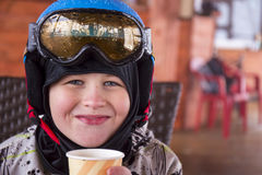 Portrait of a boy in ski helmet and protective glasses Stock Images