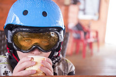 Portrait of a boy in ski helmet and protective glasses Stock Photography