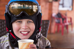 Portrait of a boy in ski helmet and protective glasses Stock Photo