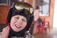 Portrait of a boy in ski helmet and protective glasses Royalty Free Stock Photos