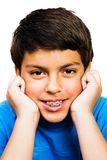 Portrait Of Boy Smiling. Portrait of a boy smiling isolated over white Royalty Free Stock Photos