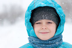 Portrait of a boy during a snowstorm Royalty Free Stock Photography