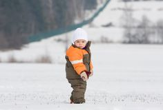 Portrait of boy in snowy landscape Royalty Free Stock Photography