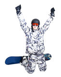 Portrait of boy in sportswear with snowboard Royalty Free Stock Photography