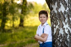 Portrait boy standing near the tree in park,folded his hands in front of him. Portrait of cute boy standing near the tree in park. The boy folded his hands in Stock Photo
