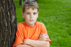 Portrait of boy, standing in park Stock Photography