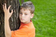 Portrait of boy, that stands, embracing tree Royalty Free Stock Photo