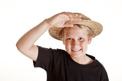 Portrait of boy with straw hat Royalty Free Stock Photography