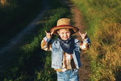 Portrait of a boy in a straw hat , country style. Portrait of a boy in a straw hat Stock Photography