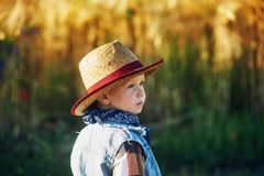 Portrait of a boy in a straw hat , country style stock photos