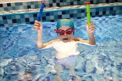 Boy in swimming pool. Portrait of boy in the swimming pool royalty free stock photography