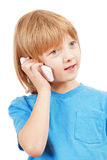 Portrait of a Boy Talking on Mobile Phone Stock Photos