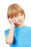 Portrait of a Boy Talking on Mobile Phone Royalty Free Stock Images