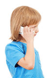 Portrait of a Boy Talking on Mobile Phone Stock Image
