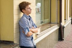Portrait of a boy teenager 13-14 years old.  Royalty Free Stock Photos