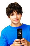 Portrait of boy text messaging stock image