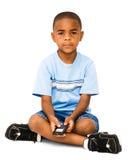 Portrait of boy text messaging Stock Photos