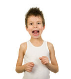Portrait of a boy in underwear with wet hair Stock Photos