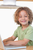 Portrait of a boy using a notebook Royalty Free Stock Photos