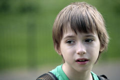 Portrait of boy in a walk Royalty Free Stock Photography