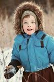 Portrait of  boy walking, winter Royalty Free Stock Photo