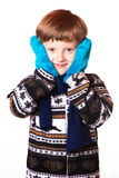 Portrait of the boy in warm clothing Royalty Free Stock Image
