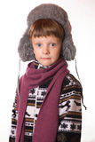 Portrait of the boy in warm clothing Stock Photography