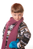 Portrait of the boy in warm clothing Stock Images