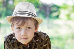 Portrait of boy wearing hat Stock Photos