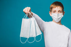 Portrait of a boy wearing protection mask suggesting masks Royalty Free Stock Photography