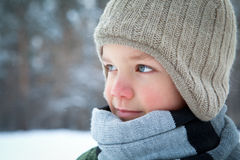 Portrait of boy wearing scarf, winter Stock Image
