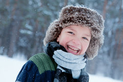 Portrait of boy wearing scarf, winter Stock Photos