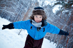 Portrait of boy wearing scarf, winter Royalty Free Stock Photos