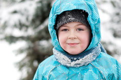 Portrait of a boy with wet snow from the face Stock Photography