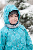 Portrait of a boy with wet snow from the face Stock Images